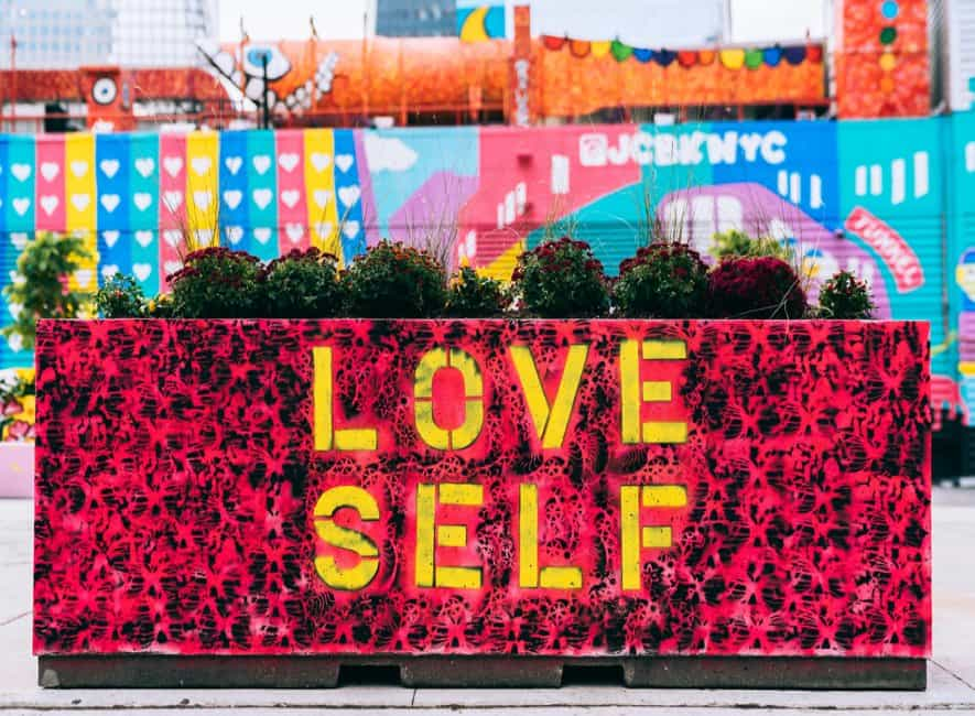 Artwork placard with the words love self written