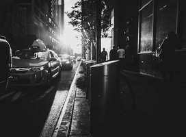 Monochrome photo of New York street in early morning light