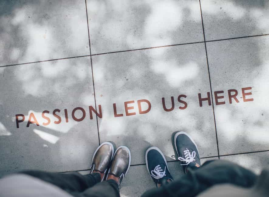 pavement tiles with message passion led us here