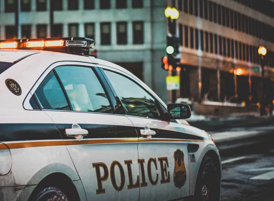 Police patrol car on USA street