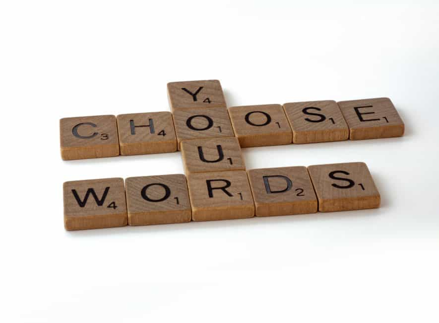 Wooden blocks spelling out the message choose your words