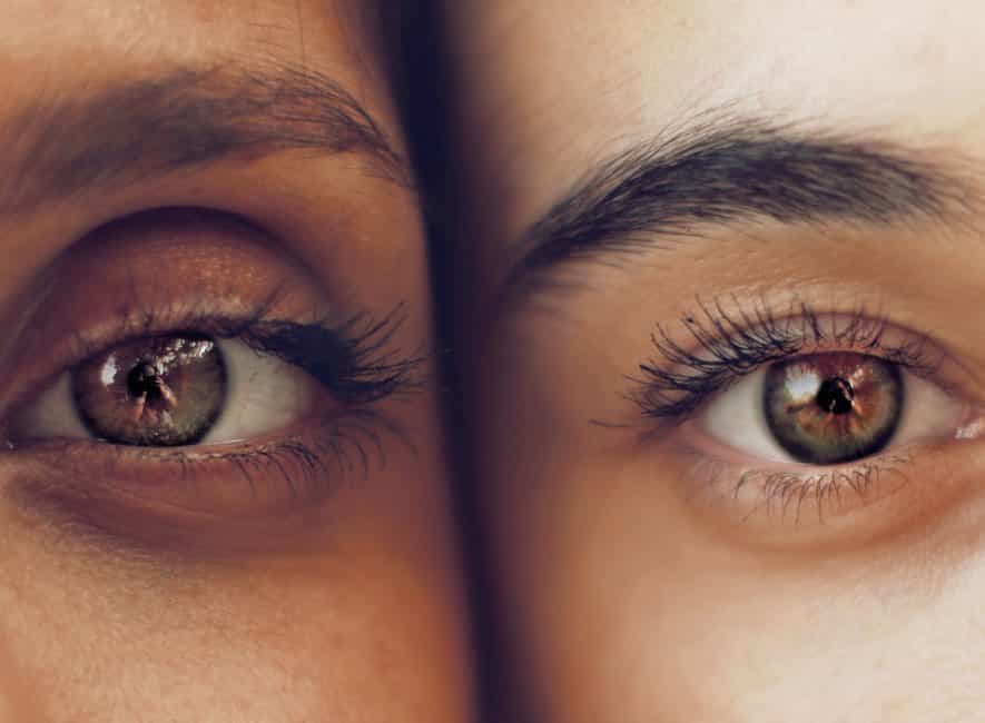 Close-up photo of left and right eye of two people