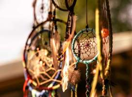 Close-up photo of assorted dreamcatchers